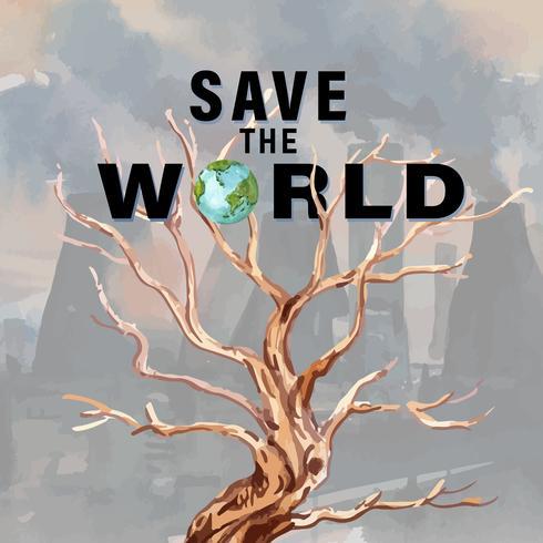 Save The World Global Warming Publicité dans les médias sociaux vecteur