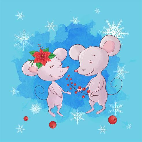 Souris Couple Carte de voeux dessinée à la main de Noël vecteur