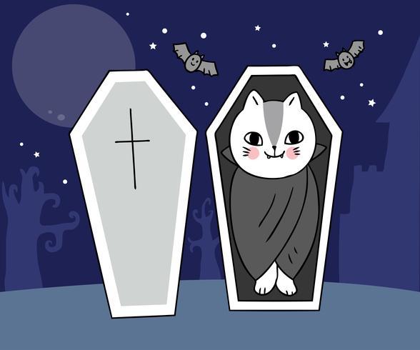 Halloween, chat vampires vecteur