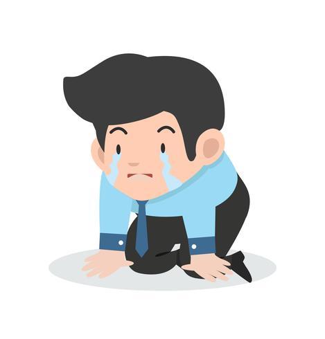 homme d'affaires qui pleure triste vecteur