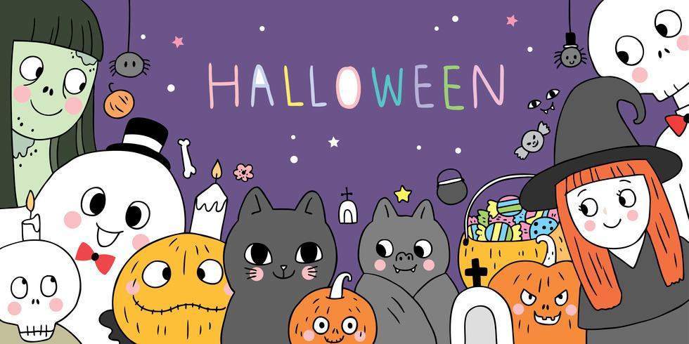 Halloween, fantômes et diables vecteur