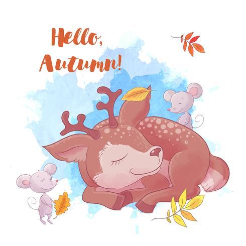 Cerf de dessin animé mignon dort avec l'automne et les feuilles. vecteur