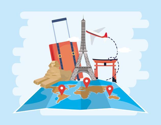 Sculpture de la tour Eiffel, du sphinx et de tokyo avec l'emplacement de la carte du monde vecteur