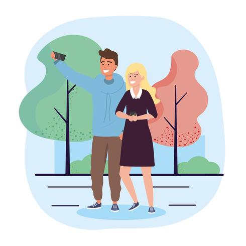 Jeune couple avec smartphone prenant selfie vecteur