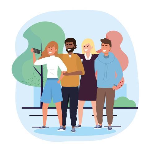 Groupe de femmes et d'hommes divers avec smartphone dans un parc vecteur