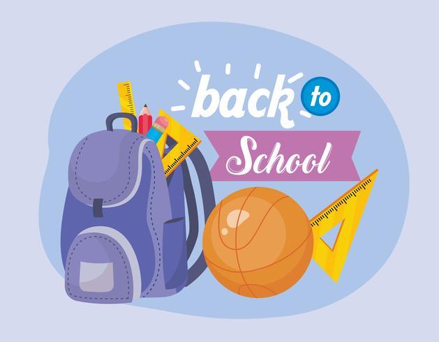 Message de retour à l'école avec sac à dos et basket vecteur