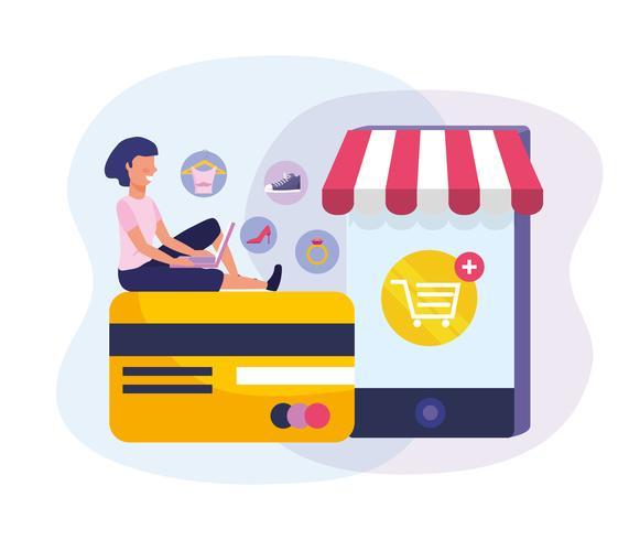 Femme avec ordinateur portable sur la carte de crédit avec les achats en ligne de smartphone vecteur