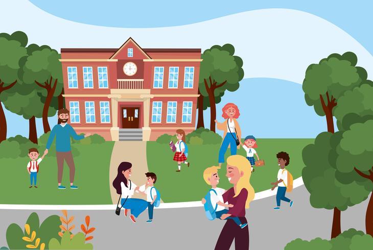 Parents avec enfants devant le bâtiment de l'école vecteur