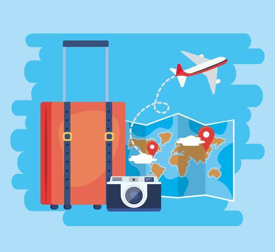 Valise avec appareil photo et carte globale vecteur
