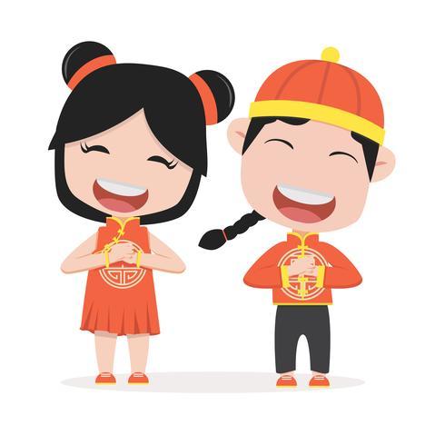Enfants chinois tenant pancarte vecteur