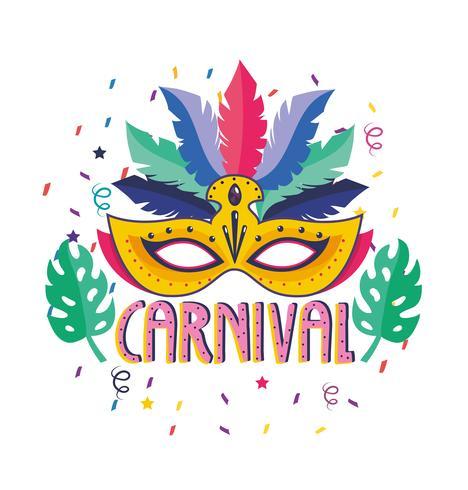 Affiche de carnaval avec plume et masque vecteur