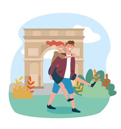 Homme portant une femme devant l'arc de triomphe vecteur