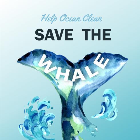 Sauvez la baleine Nettoyez l'océan Brochure vecteur