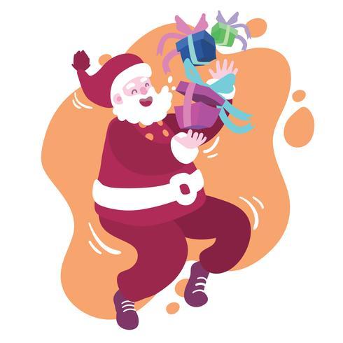 Père Noël jouant avec un cadeau de Noël vecteur