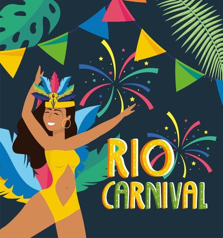 Affiche de carnaval de Rio avec une danseuse en costume avec bannière vecteur