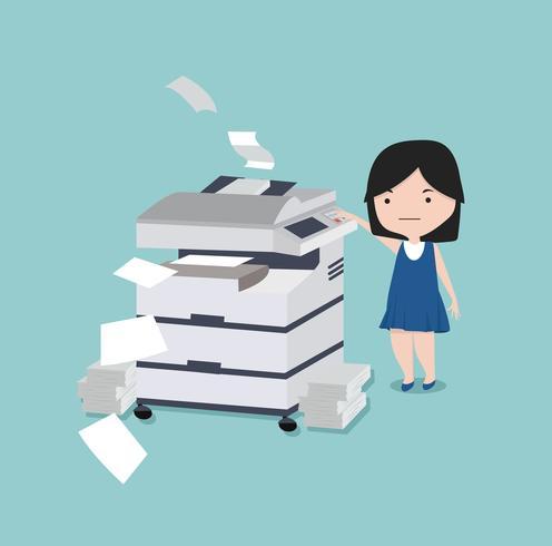 enfant utilisant un appareil multifonction Office à impression de copie vecteur