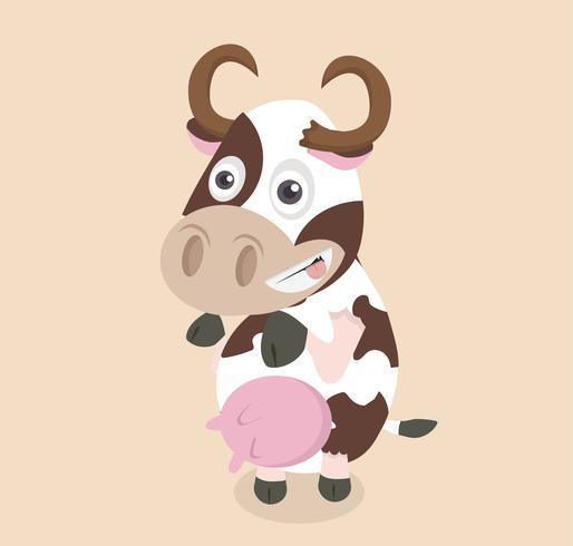 Conception de la vache drôle de bande dessinée vecteur