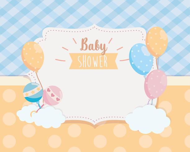 Etiquette baby shower avec hochets et ballons vecteur