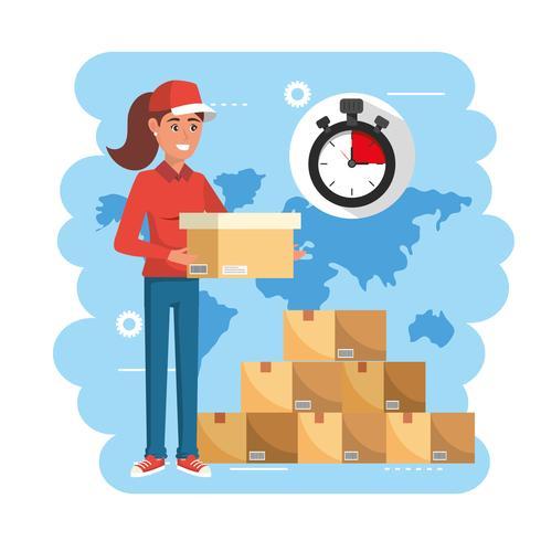 Livreuse tenant une boîte avec un chronomètre et une pile d'emballages vecteur