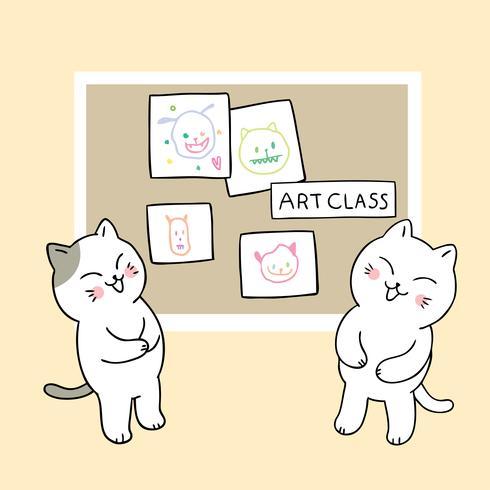 Retour A L 39 Ecole Chats Droles En Classe D 39 Art Telecharger Vectoriel Gratuit Clipart Graphique Vecteur Dessins Et Pictogramme Gratuit