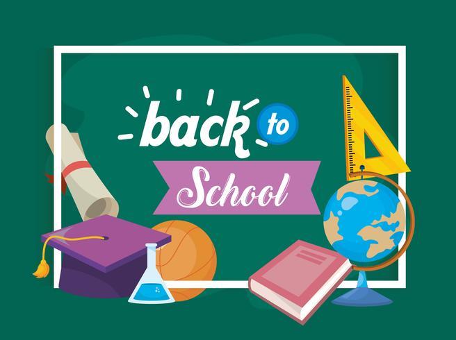 Message de retour à l'école avec cadre et fournitures de classe vecteur