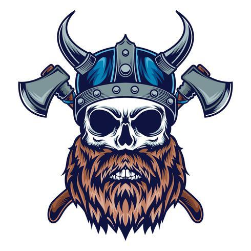illustration de crâne de viking vecteur