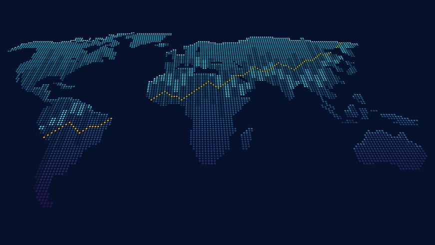 Concept artistique de points du réseau mondial vecteur