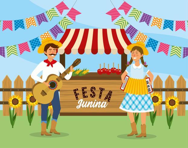 Homme et femme avec guitare et accordéon Festa Junina vecteur