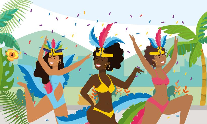 Danseuses de carnaval avec des confettis dans la rue vecteur