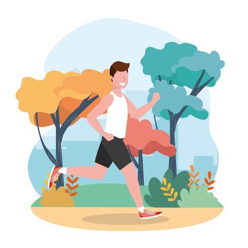 Homme faisant de la course dans le parc vecteur