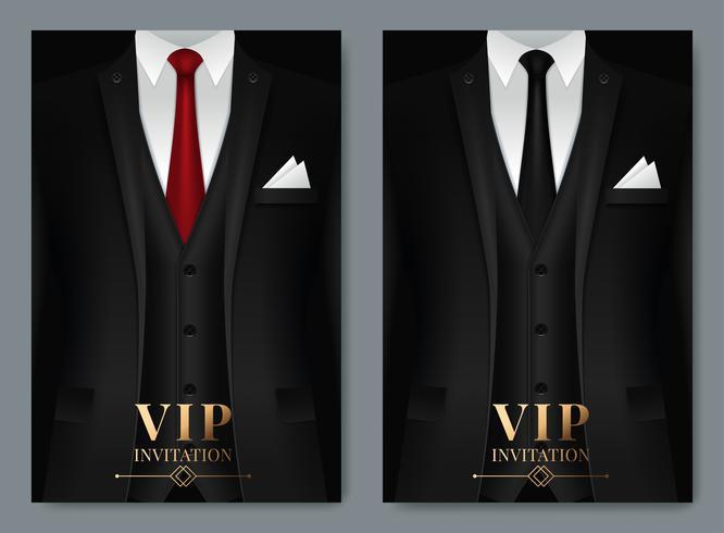 Modèles de cartes de visite de costume noir vecteur