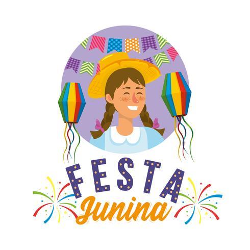 Femme Festa Junina portant un chapeau de fête et des lanternes vecteur