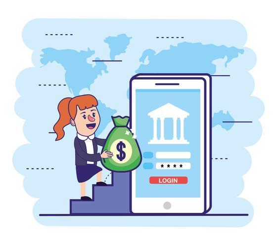 Femme avec sac d'argent et smartphone vecteur