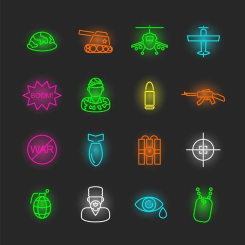 jeu d'icônes de guerre néon vecteur