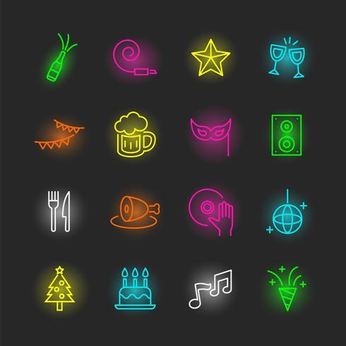 jeu d'icônes de néon parti vecteur