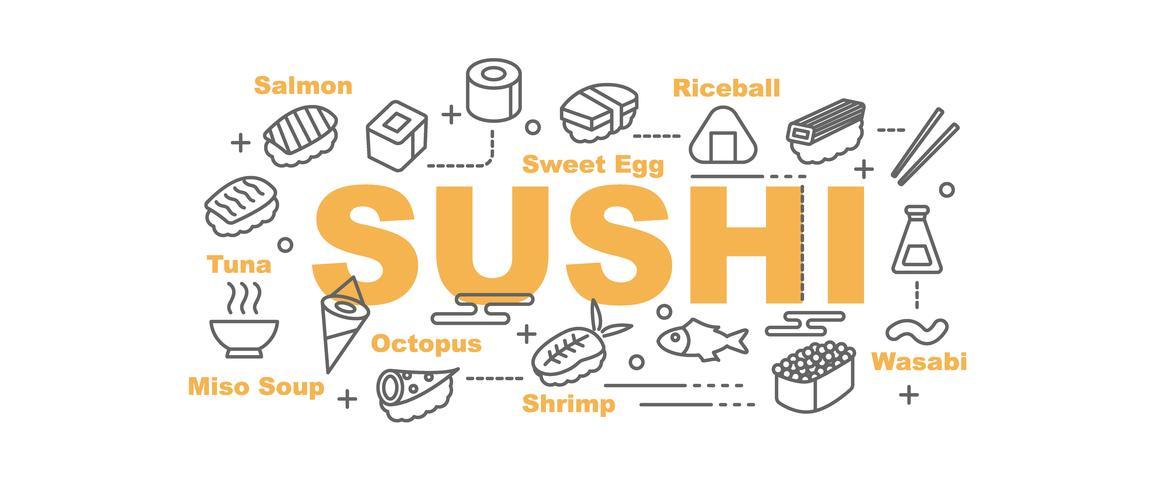bannière de sushi avec des icônes de l'art en ligne vecteur