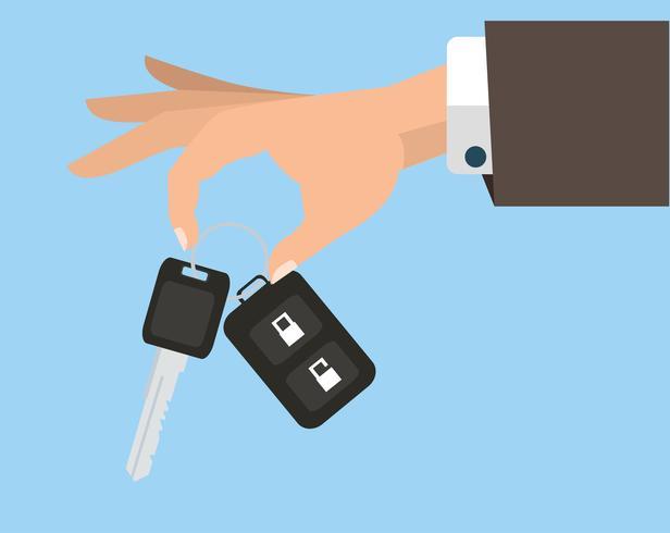 Homme d'affaires tenant la clé de la voiture vecteur