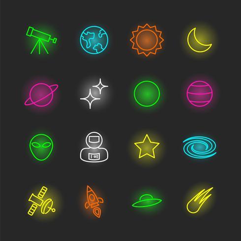 jeu d'icônes de néon de l'espace vecteur