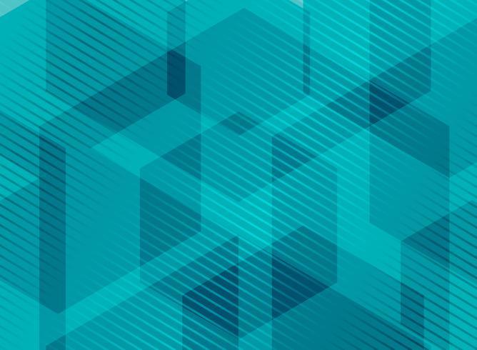 Hexagones géométriques abstraites bleu turquoise avec des lignes rayées vecteur