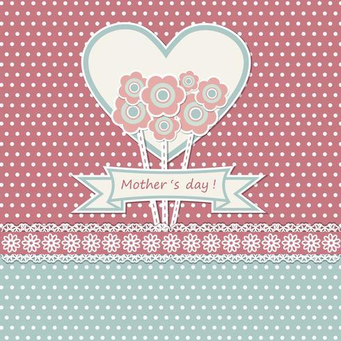 Carte de fête des mères heureuse avec des fleurs vecteur