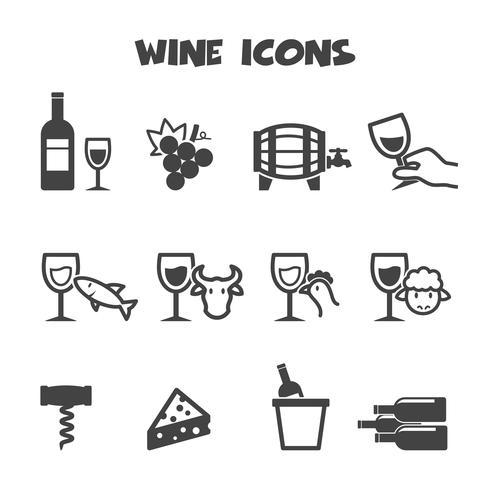 symbole d'icônes de vin vecteur