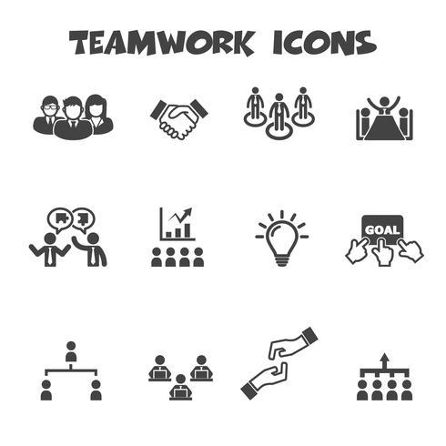 symbole d'icônes de travail d'équipe vecteur