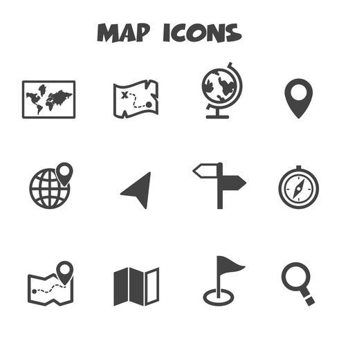 symbole d'icônes de carte vecteur