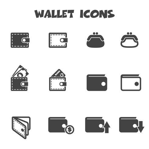 symbole d'icônes de portefeuille vecteur