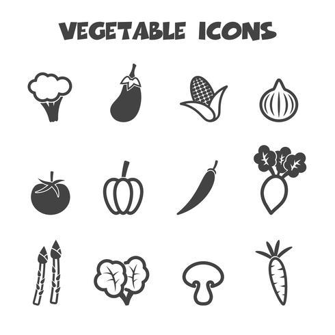 symbole d'icônes de légumes vecteur