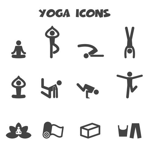 symbole d'icônes de yoga vecteur