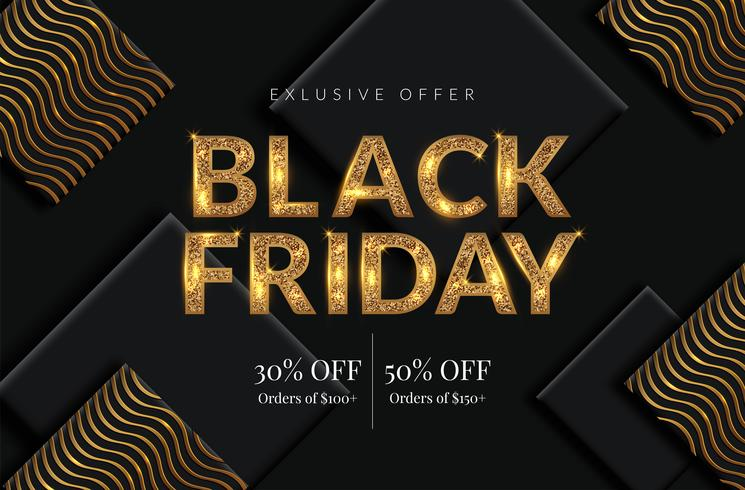 Golden Black Friday Sale fond vecteur