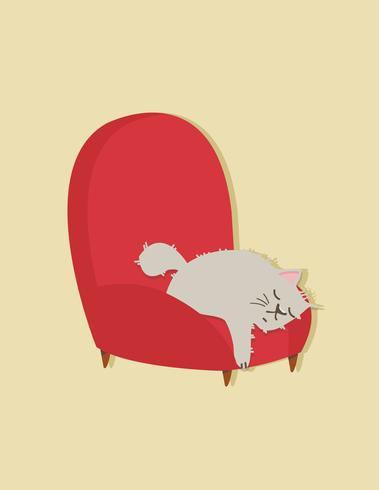 chat dort sur le canapé vecteur