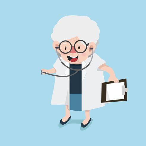 vieille femme médecin avec stéthoscope vecteur