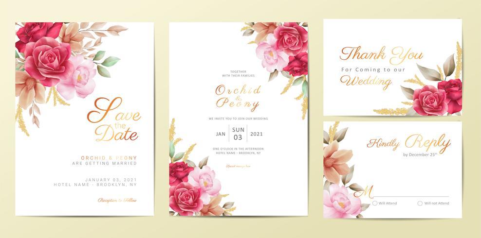 Ensemble de modèles de cartes d'invitation mariage fleurs romantiques. Aquarelle fleurs décoration Save the Date, Invitation, Salut, Merci, vecteur de cartes RSVP
